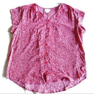 Liz Claiborne red picnic short sleeve button down